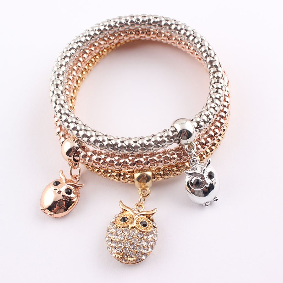 Hot sale vintage gold plated crystal owl charms bracelets new style