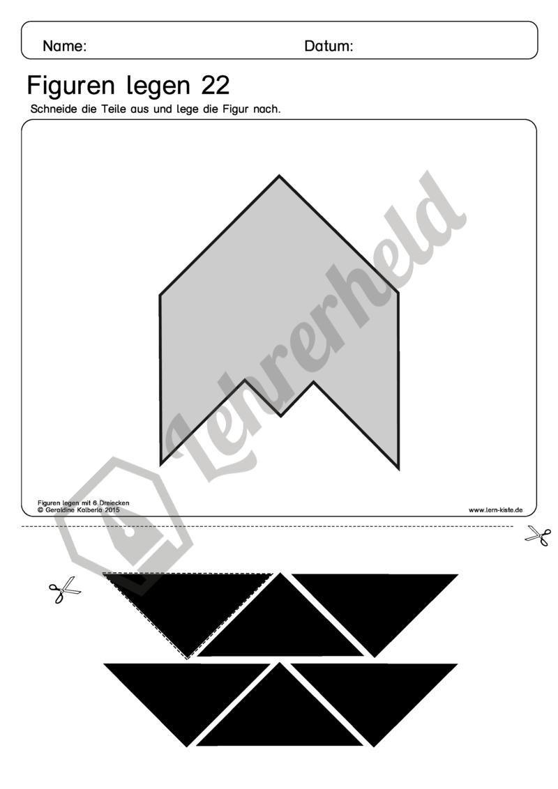 Figuren Legen mit 6 Dreiecken | Mathematik Grundschule | Pinterest ...