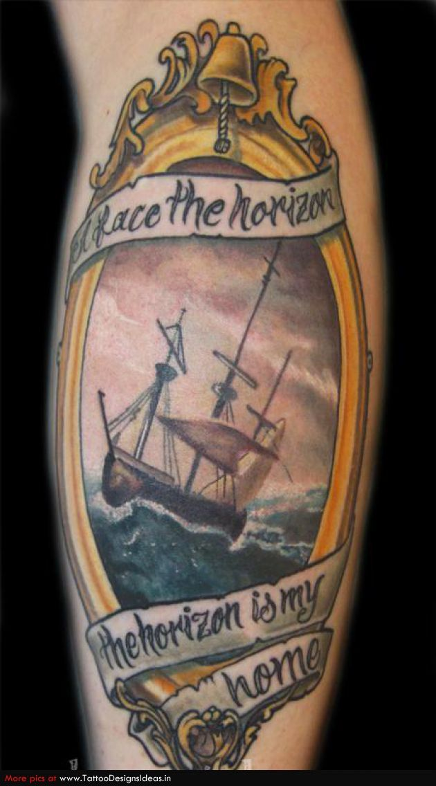 Ship tattoo with bell for Pirate tattoo meaning
