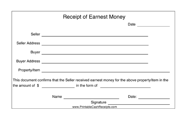This Printable Receipt For Earnest Money Is Proof Of A Sales Transaction Free Earnest Money Receipts