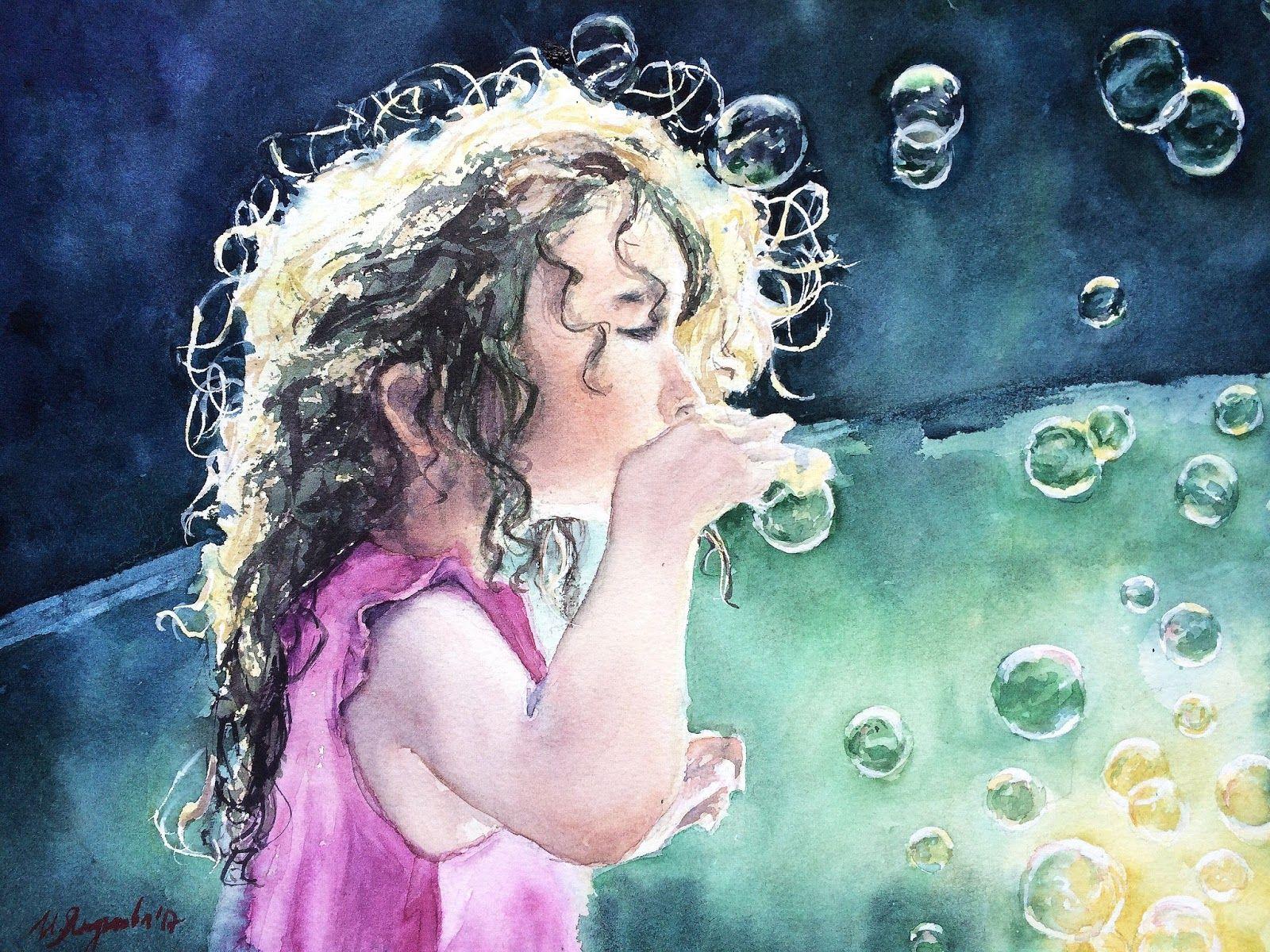 Рисунок девочка пускает пузыри
