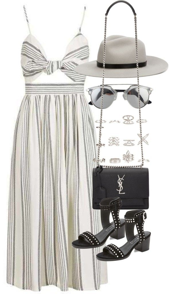 Outfit for a summer party with a midi dress by ferned featuring a leather shoulder bag Topshop high waisted skirt / Sol Sana black sandals, £86 / Yves Saint Laurent leather shoulder bag, £1,395 / New Look silver jewellery / Rag bone fedora hat, £205... #fedoras