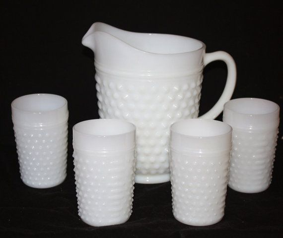 Vintage Milk Glass Hobnail Pitcher with Four by WillODellAntiques