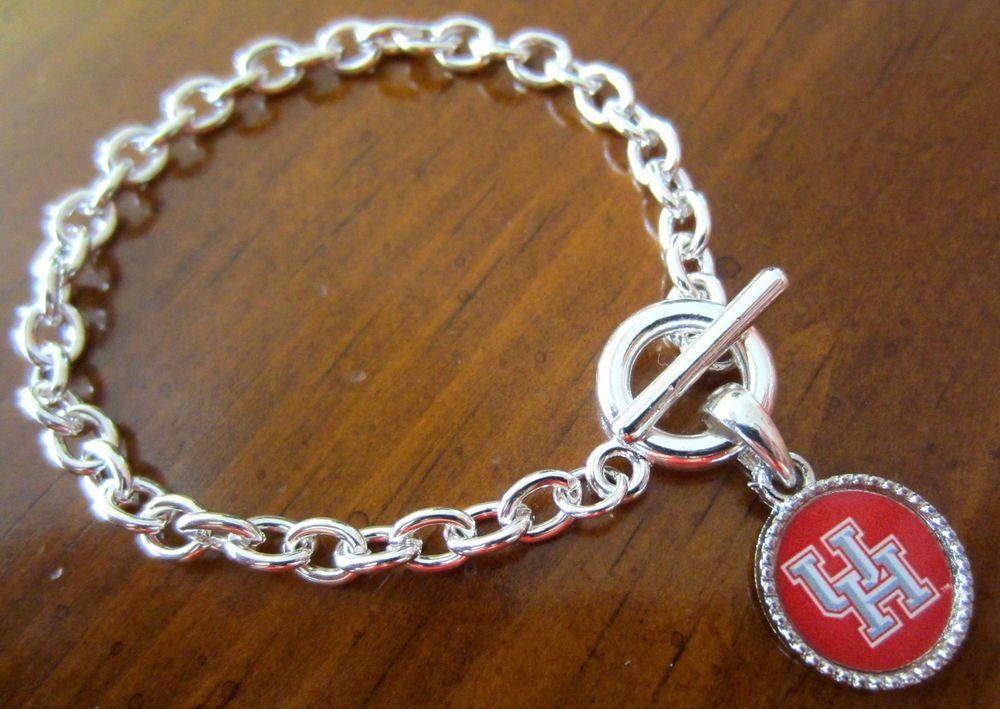 New University Of Houston Cougars Uh Silver Toggle Charm Bracelet Jewelry Charm Bracelet University Of Houston Silver