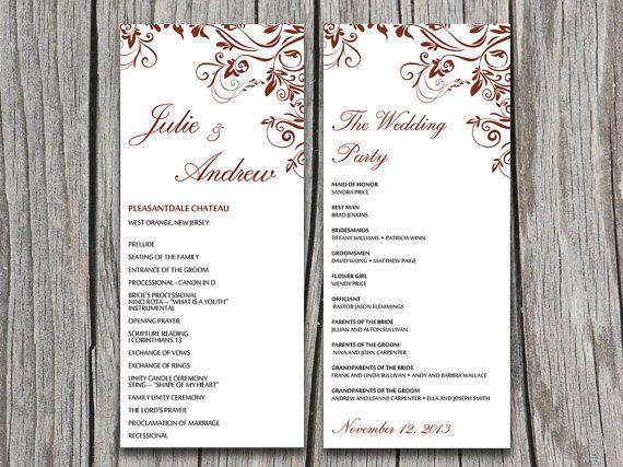 Dark Red Burgundy Ornate Flourish Wedding Program Microsoft Word