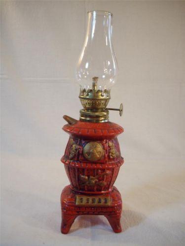 Vintage Bisque Red Pot Belly Stove Kerosene Oil Lamp Light Oil Lamps Lamp Lamp Light