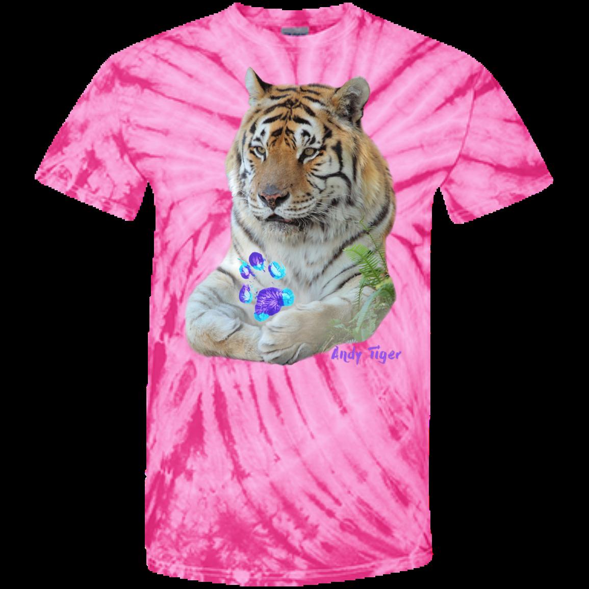 Andy Tiger Paw Print 100 Cotton Tie Dye TShirt Tie dye