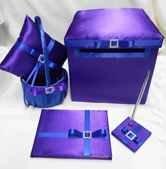 Purple Royal Blue Flower Girl Basket ring Bearer Pillow Guest Book ...