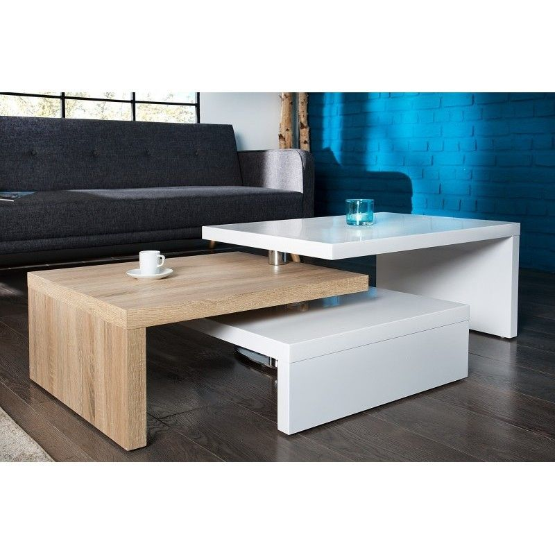 Table Basse Design En Mdf Coloris Sonoma Et Blanc Laque Office Table Design Room Furniture Design Study Table Designs