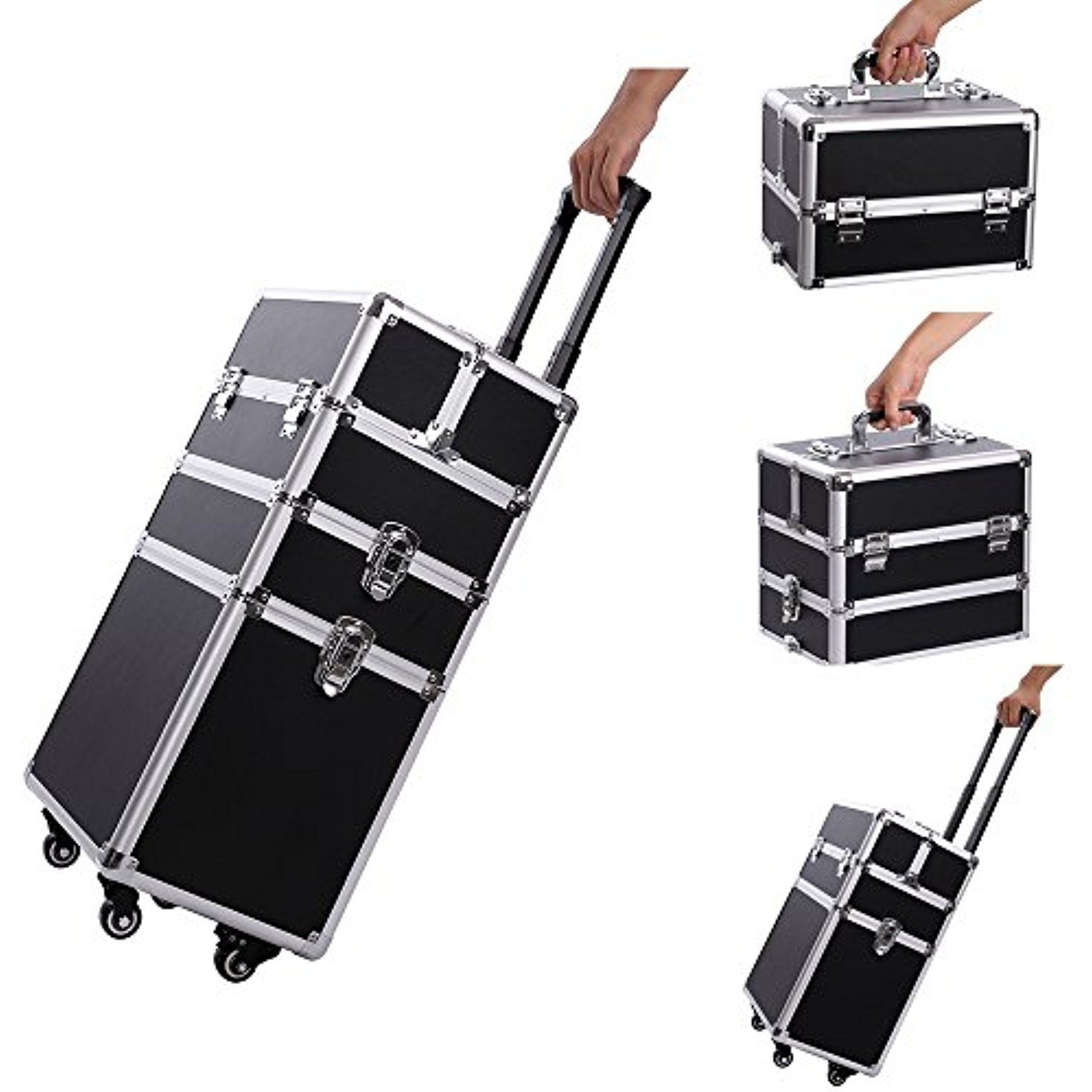 Professional Makeup Train Case,Portable Aluminum Rolling Cosmetic Storage Jewelry Organizer