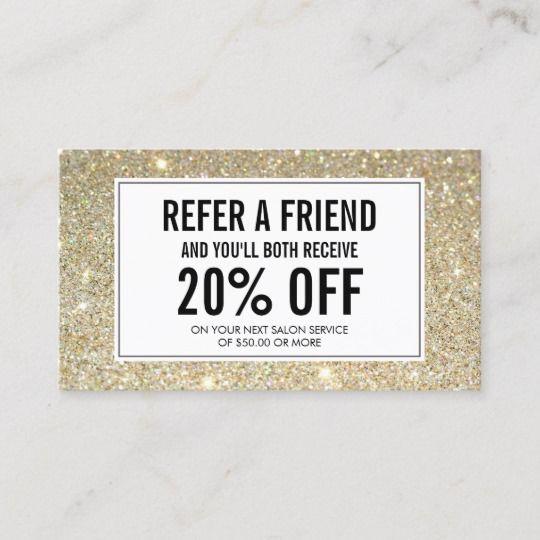 Classic Gold Glitter Salon Referral Card | Zazzle.com