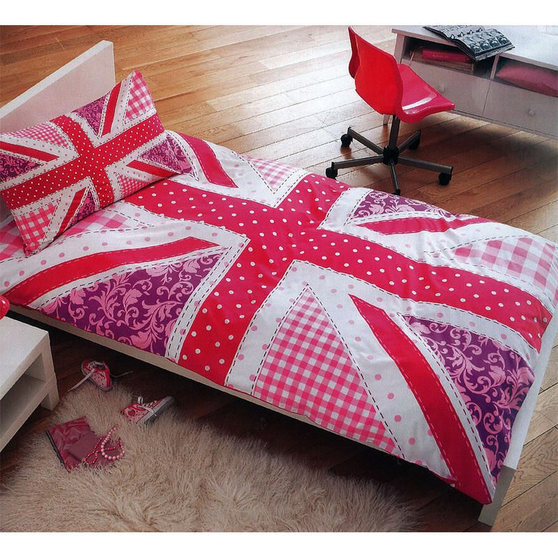 S Pink Union Jack Single Duvet Cover Bed Sheet Set Pillowcase New