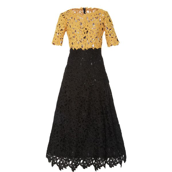 Costarellos     Guipure Lace Bi-Color Tea Length Dress ($1,695) ❤ liked on Polyvore featuring dresses, black, lace tea length dress, lace a line dress, lacy dress, tea-length dresses and a line dress