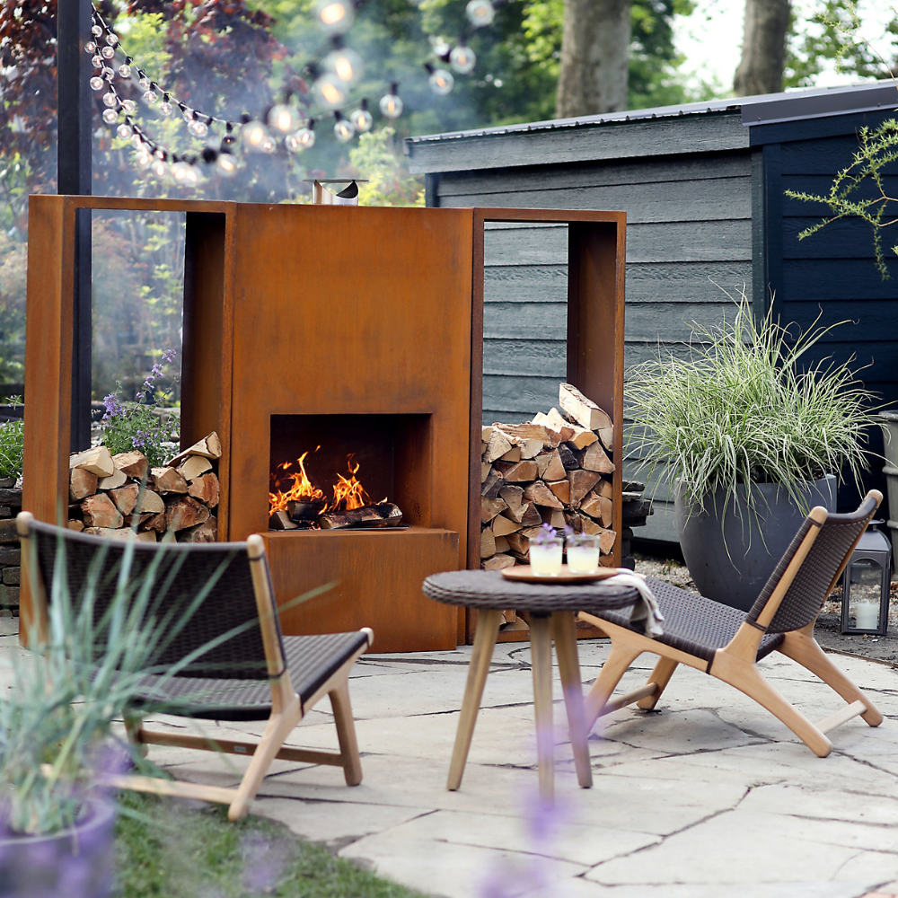 Weathering Steel Planed Outdoor Fireplace In 2020 Outdoor Fireplace Designs Outdoor Fireplace Backyard Renovations