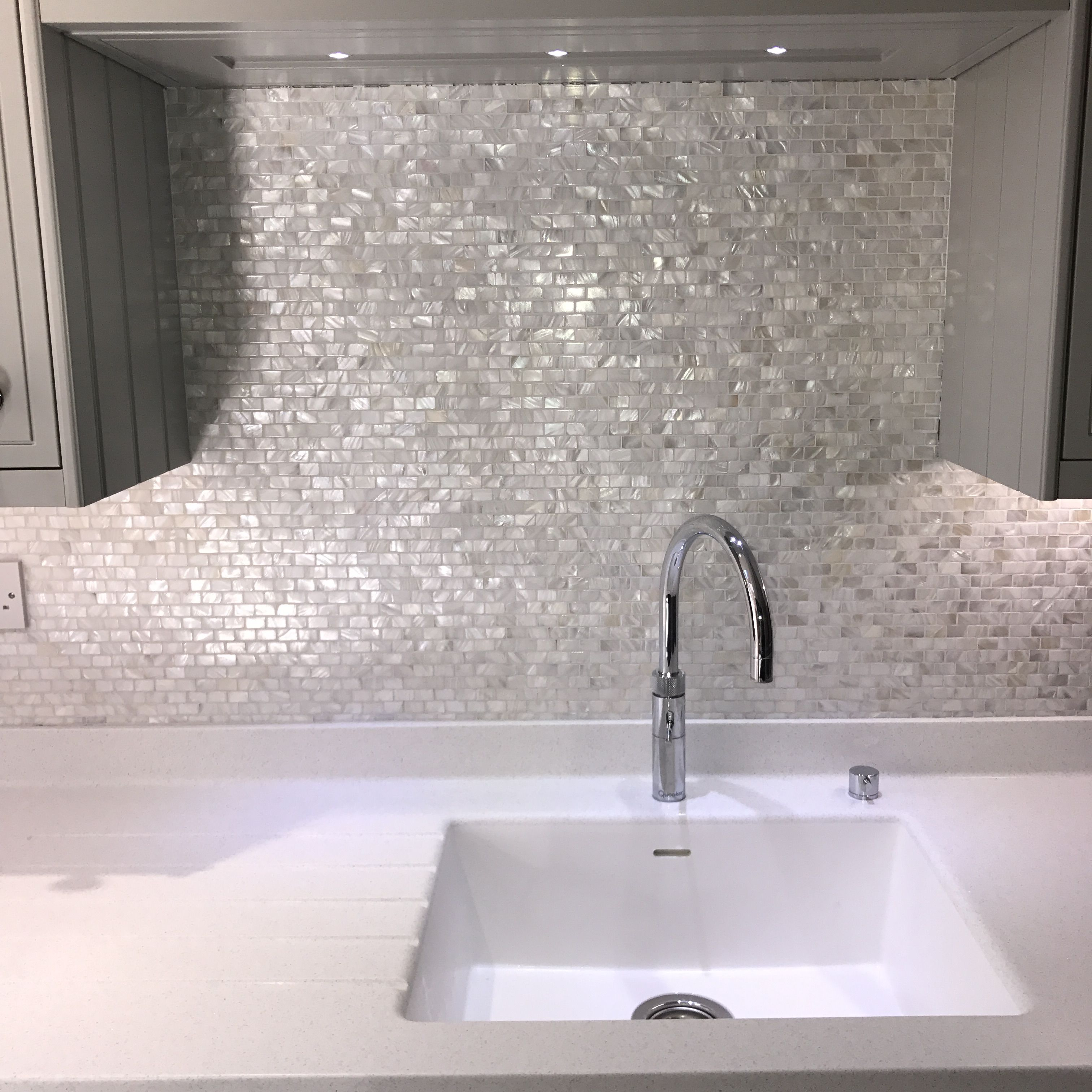 Mother Of Pearl Tiles From Fired Earth In My Kitchen Pearl Tile Kitchen Upgrades Guest Bath