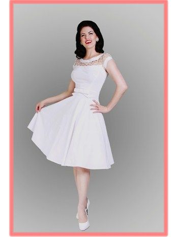 Bettie Page 50 S Inspired White Fishnet Top Alika Swing Dress