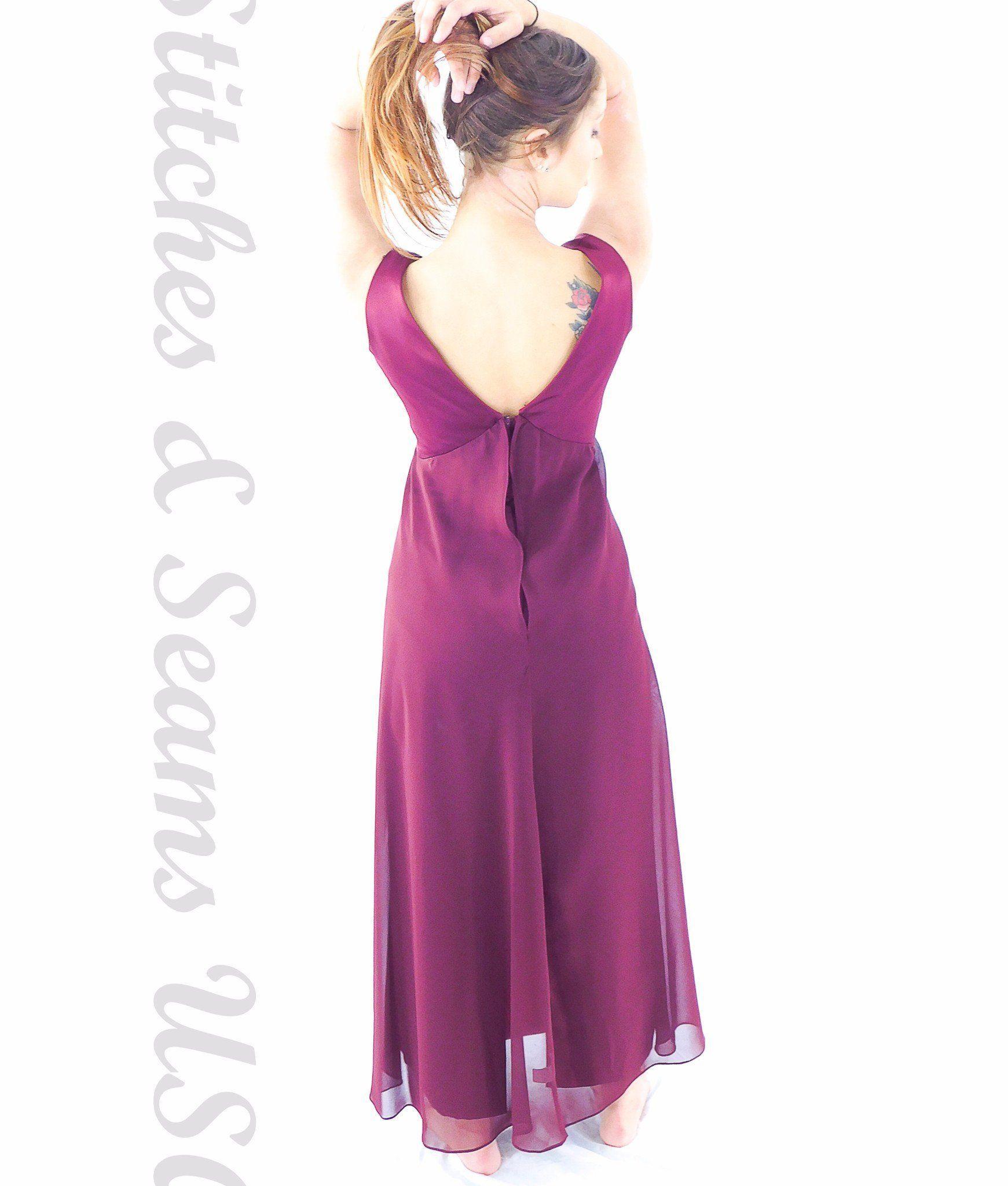 Formal Prom Dress Dark Burgundy Red Sleeveless V Neck Fancy Dine Gown Zip Up