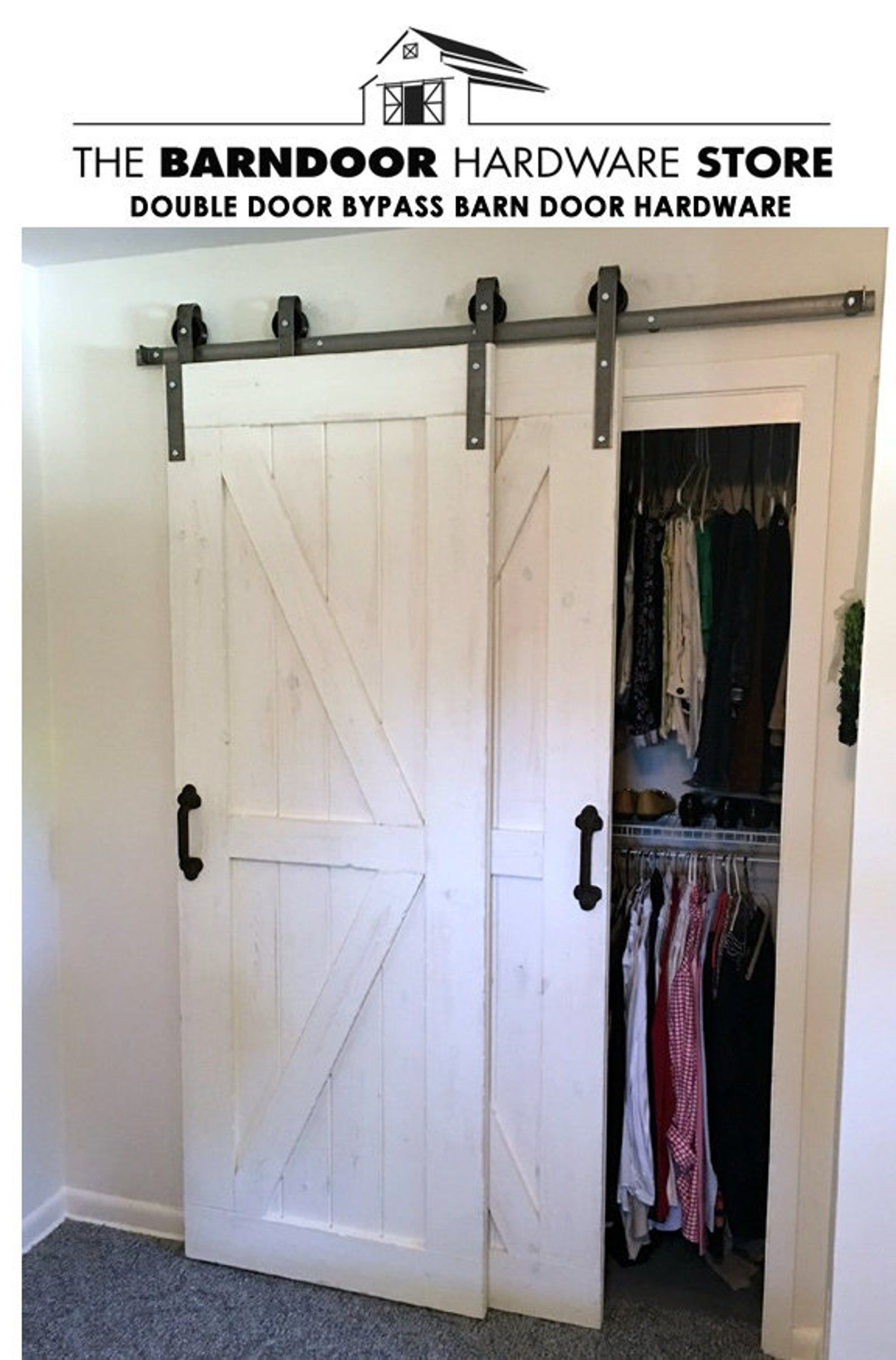 Double Door Single Track Bypass Barn Door On A Single Rail Etsy In 2020 Bypass Barn Door Bedroom Closet Doors Double Sliding Barn Doors