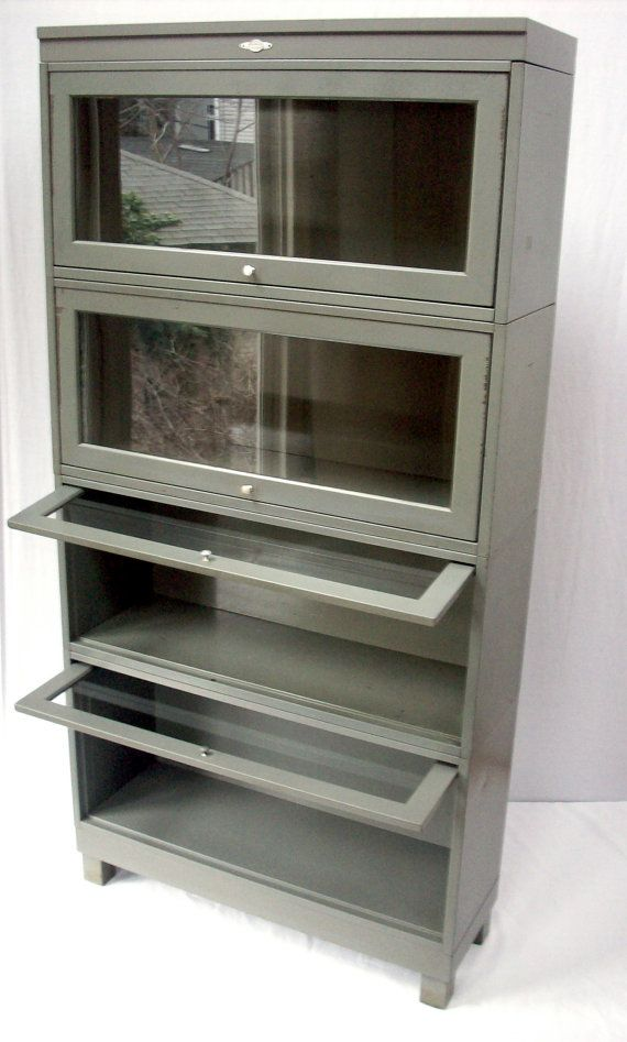 reserved for teresa vintage bookcase metal lawyers barrister style with glass front doors art metal