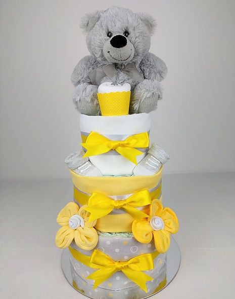 Napy cakes by emma yellow grey teddy nappy cake washcloth nappy cake for baby showers maternity farewell or a new arrival gift delivering to brisbane sydney melbourne more negle Choice Image