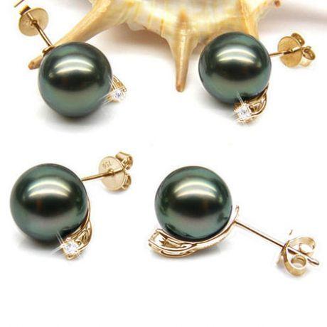 Boucles oreilles perles – Clous or jaune – Perle de Tahiti – Puces diamants