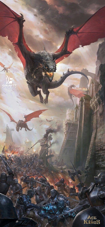 空飛ぶドラゴンと兵士達の壁紙