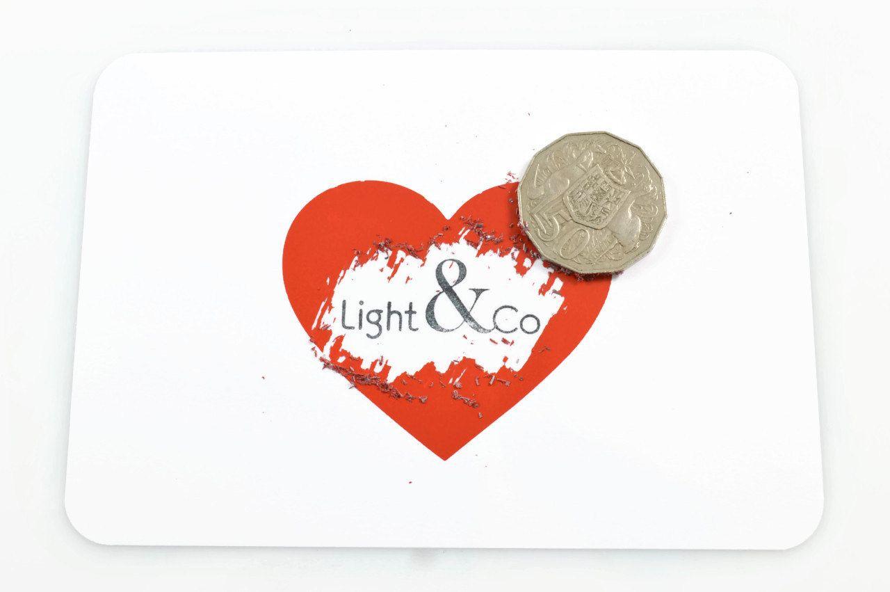 SCRATCH HEART STICKERS (Set of 12) - Red Heart Scratch Sticker Set (7cm x 6cm) - Light & Co