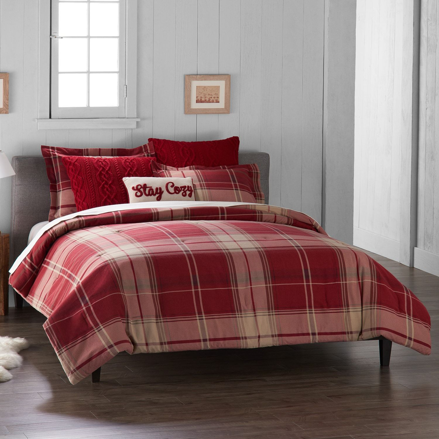 cozy cabin set lodge twin warm red black tartan down southwest pattern grey alternative duvet cover bedding lumberjack themed pin solid checked comforter plaid