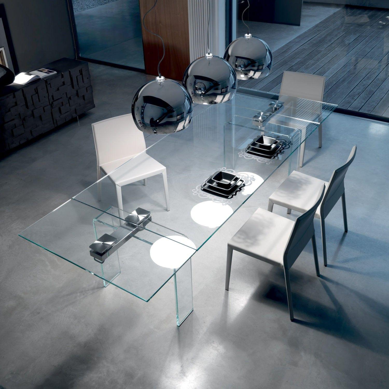 Vista dall 39 alto del tavolo allungabile con gambe in for Tavolo alto allungabile