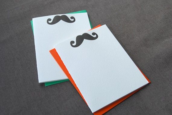 Mustache cards for guests to write well wishes