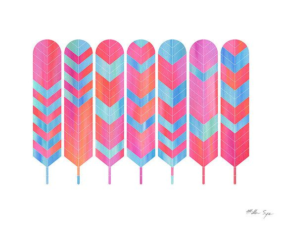 Feather Art - Seven Feathers Mosaic - Pink Feathers - 8x10 Print $19