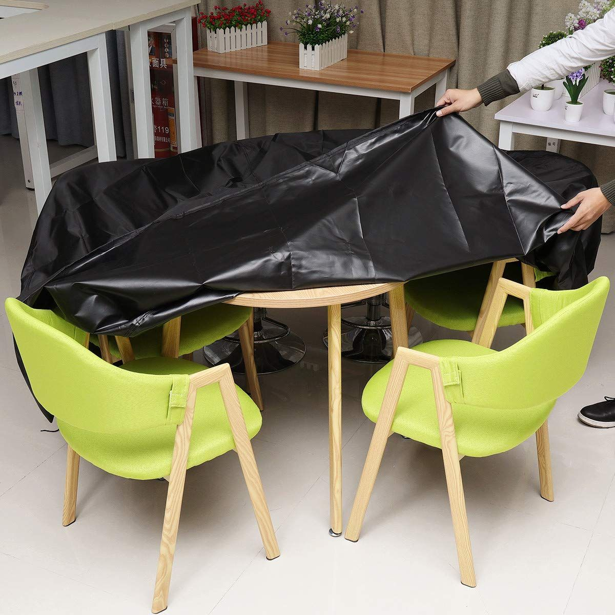 Amazon Com King Do Way Patio Furniture Covers Round Patio Table And Chair Cover Oval With Durable And Waterproof Uv Resistant Fabric 420d Black Xlarge 96