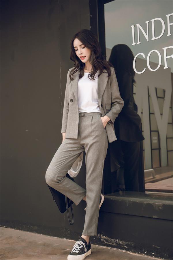 Model Blazer Wanita 2019 : model, blazer, wanita, Women, Piece, Short, Solid, Blazer, Waist, Office, Notched, Jacket, Sui…, Pakaian, Formal,, Celana, Wanita,, Model, Korea