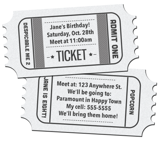 Movie ticket birthday invitations printable free download – Ticket Template Free Download