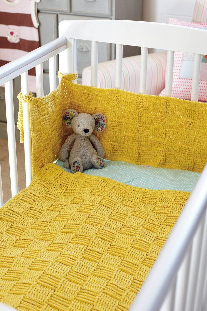 Mustard Yellow Crocheted Baby Cot Blanket And Bumper