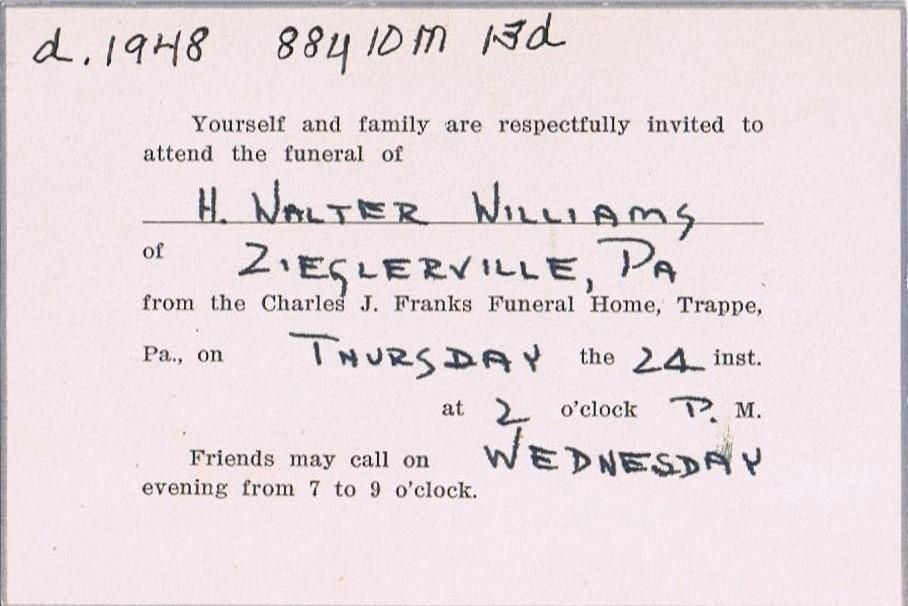 H  WALTER WILLIAMS Died 1948