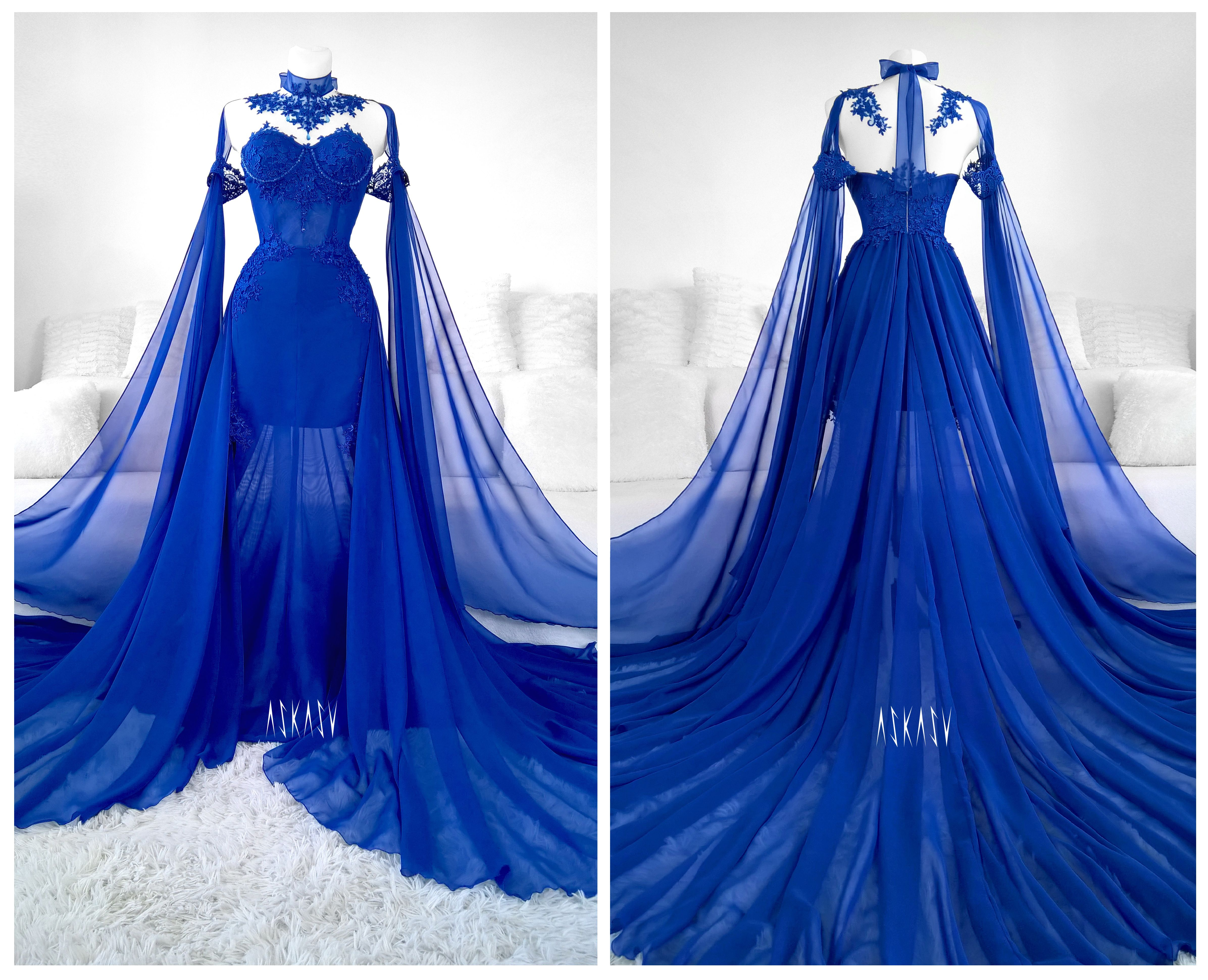 65145cea85ec1b The most beautiful dress ever. #sapphire #blue #cobalt #gown #goth #lace  #mesh #train #fashion #alternative #askasu #bluedress #fairy #faerie #elf