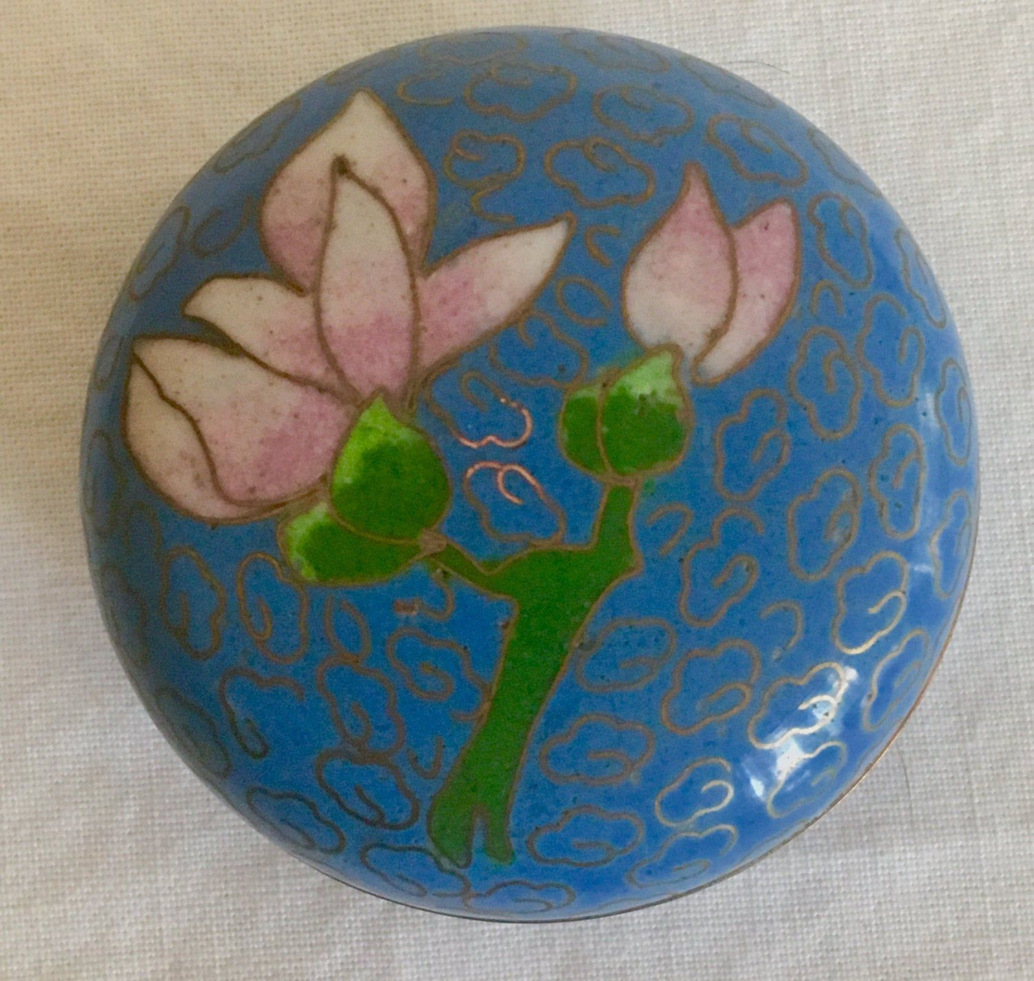 Vintage cloisonné box trinket jewelry blue with pink