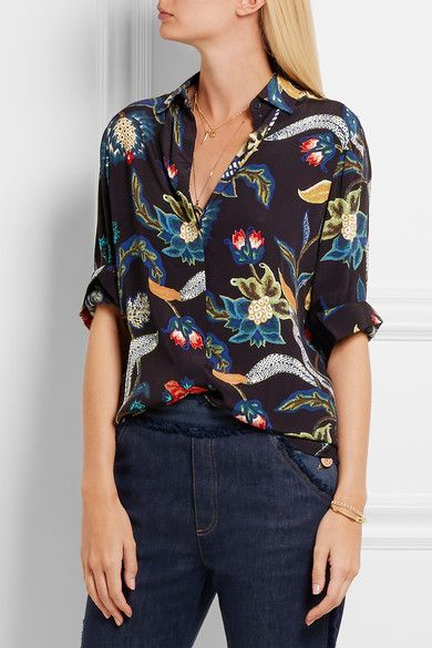 Multicolored Crepe Partially Concealed Button Fastenings Through Front 100 Viscose Machine Wash Floral Print Blouses Floral Prints Fashion
