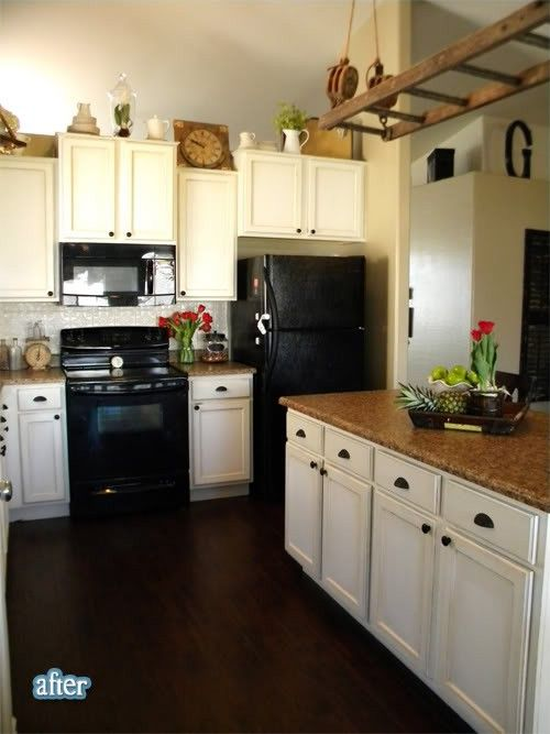 White Cabinets Black Appliances Brown Tan Countertop With