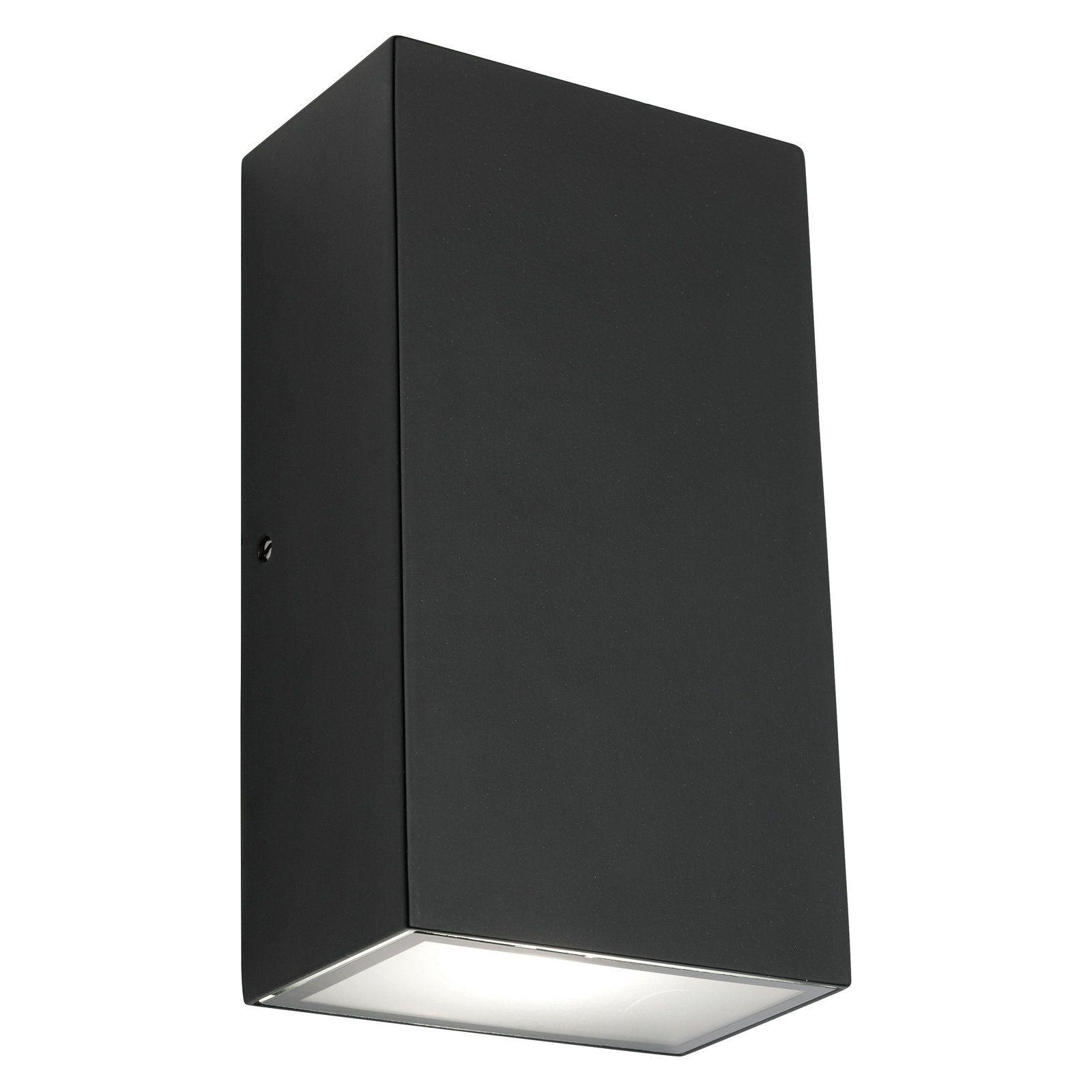 Exterior Garage Downlights: Mercator Brenton LED Square Black Up/Down Exterior Wall
