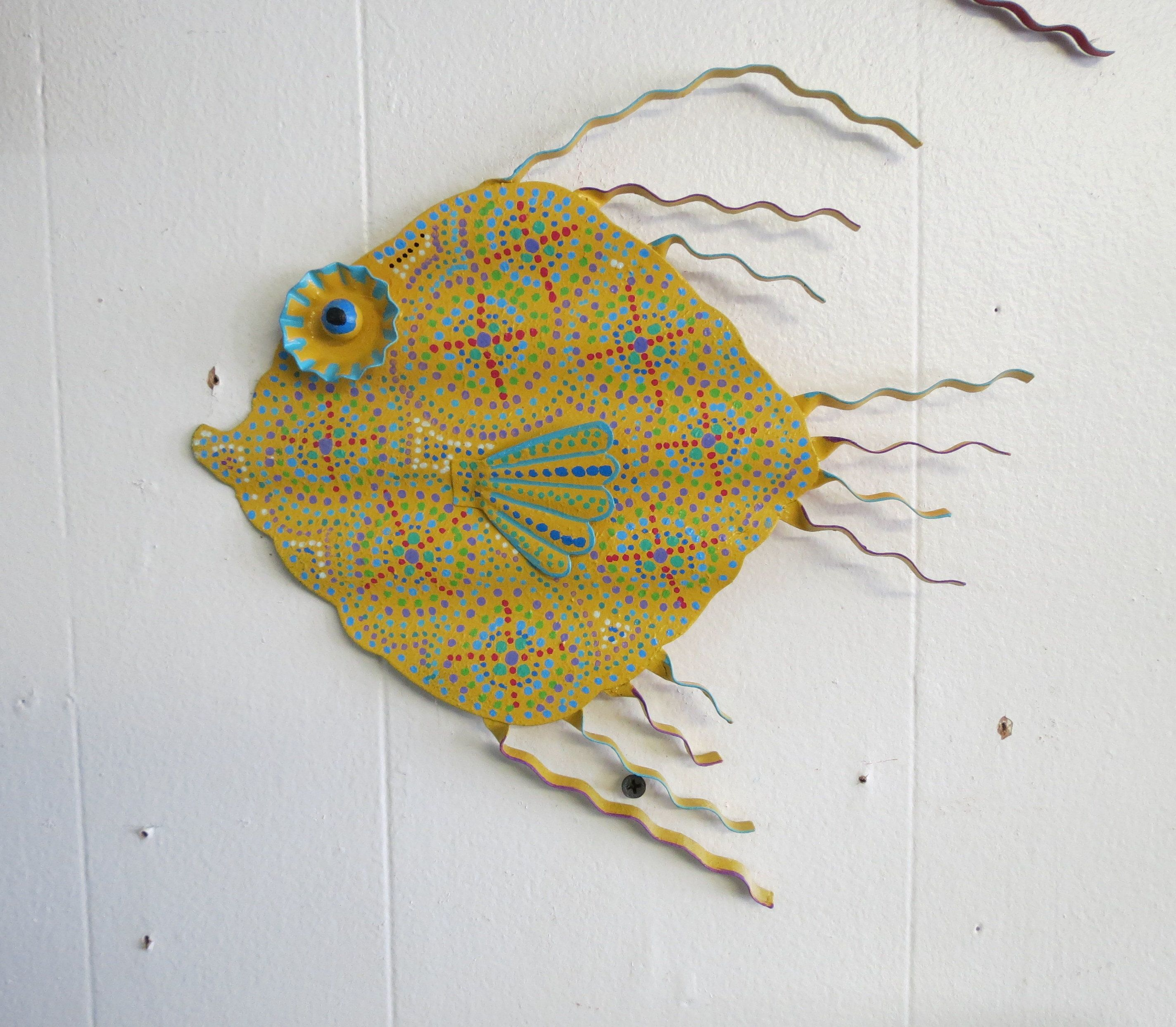 Fun Whimsy Metal Painted Fish wall or Outdoor Art Decor Beach Lake ...