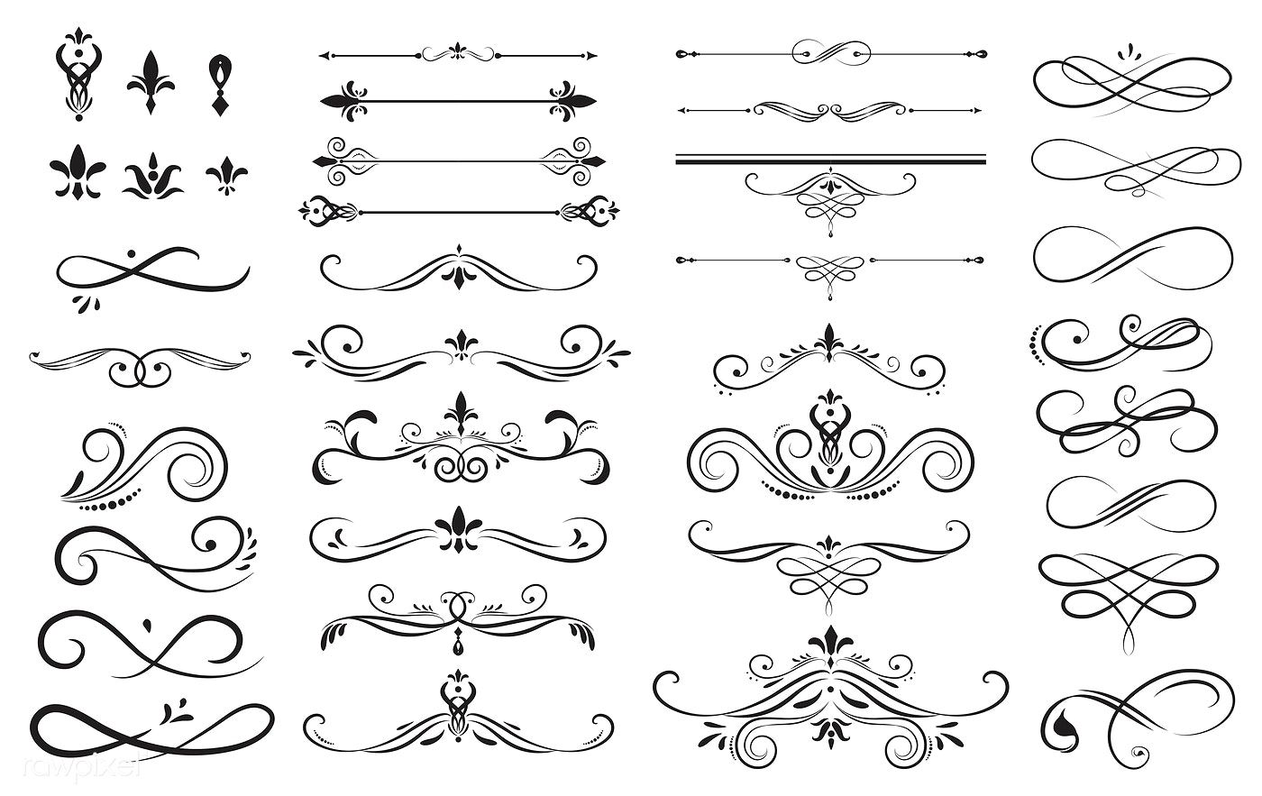 Download Premium Vector Of Collection Set Of Label Ornament Vector Vintage Ribbon Banner Ornament Frame Vector Free