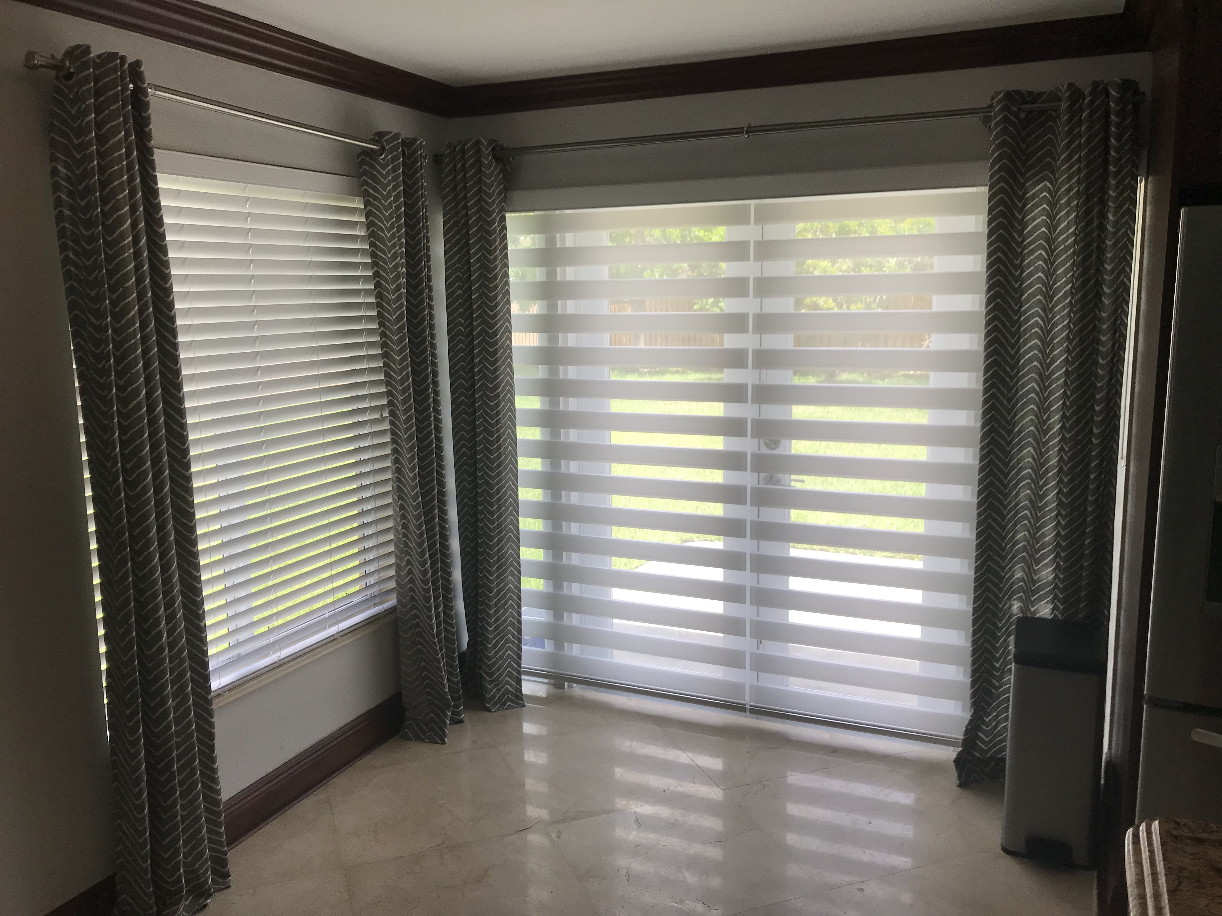 French Doors With 2in1 Zebra Illusion Privacy Shades By Elite