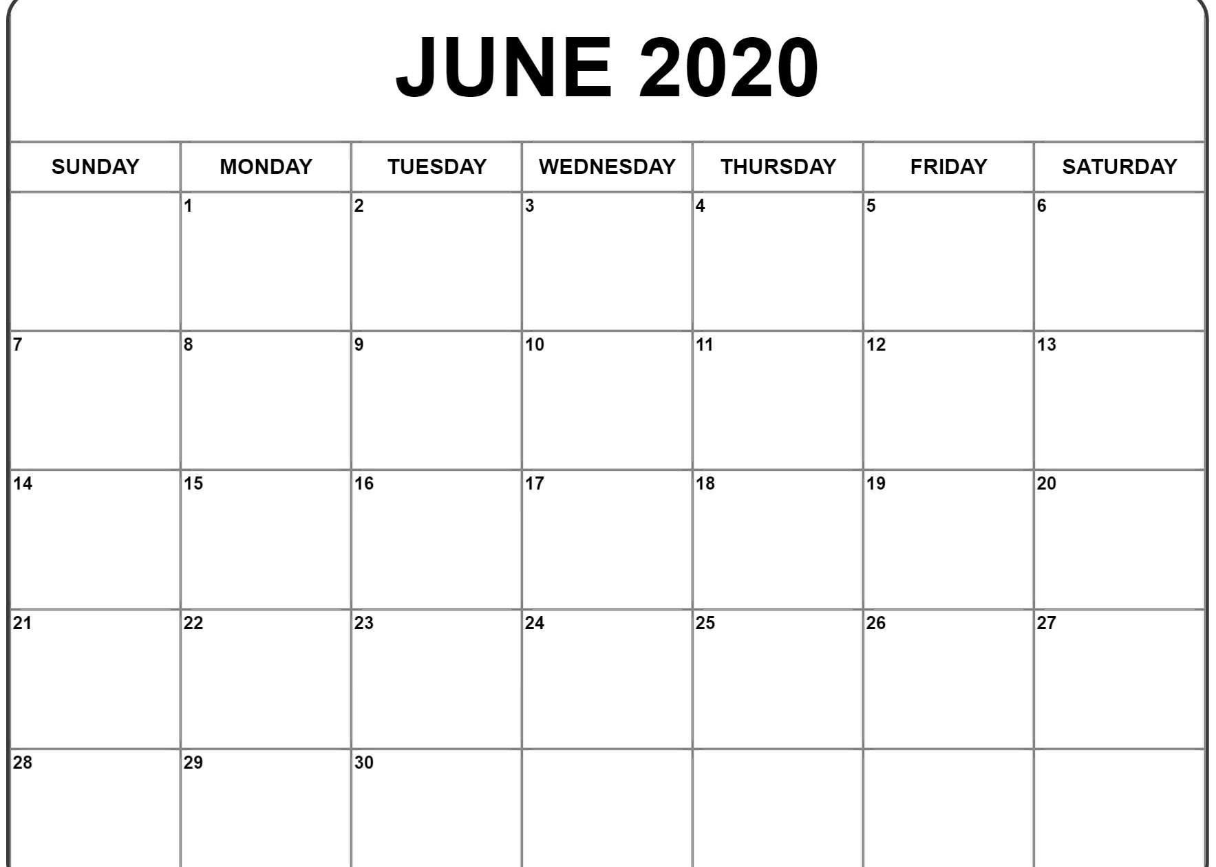 June 2020 Calendar Pdf Word Excel Template Printable Calendar