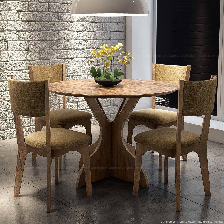 Conjunto Para Sala De Jantar Com Mesa Redonda Tm 11 E 4 Cadeiras  -> Sala De Jantar Pequena Mesa Redonda Ou Retangular