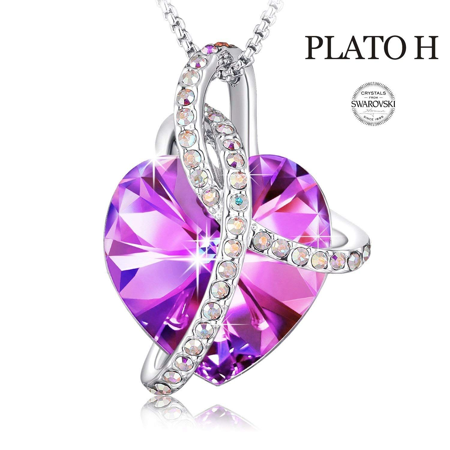 8033566af Heart Necklace Color Changing Eternal Love Courageous Heart Crystal Pendant  Necklace for Girl, Birthday Birthstone Jewelry Gifts for Women, 18', ...