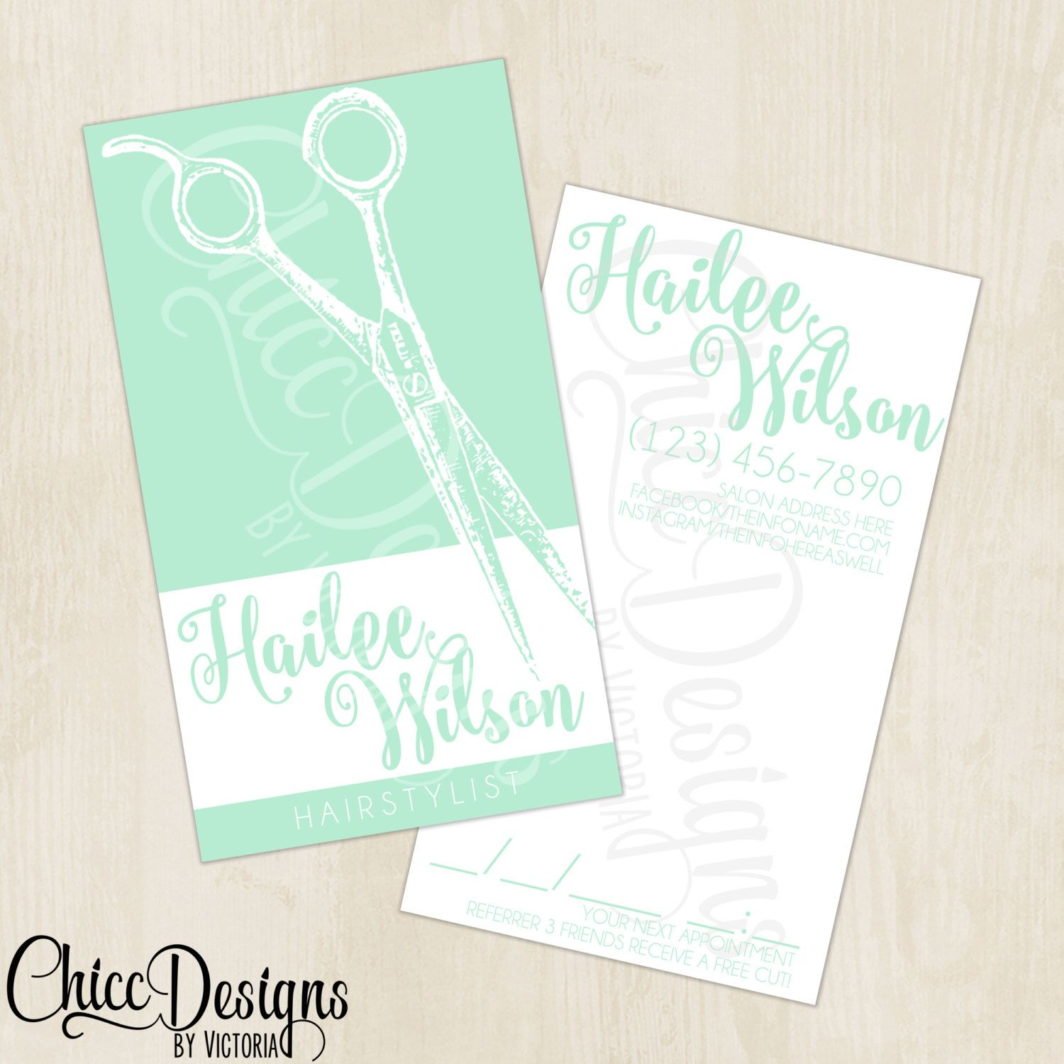 Hairstylist Business Cards - Front & Back - Mint - Shears - Digital ...