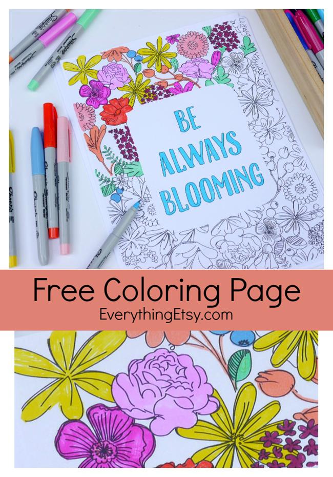 Be Always Blooming Adult Coloring Page Printable   Best of ...