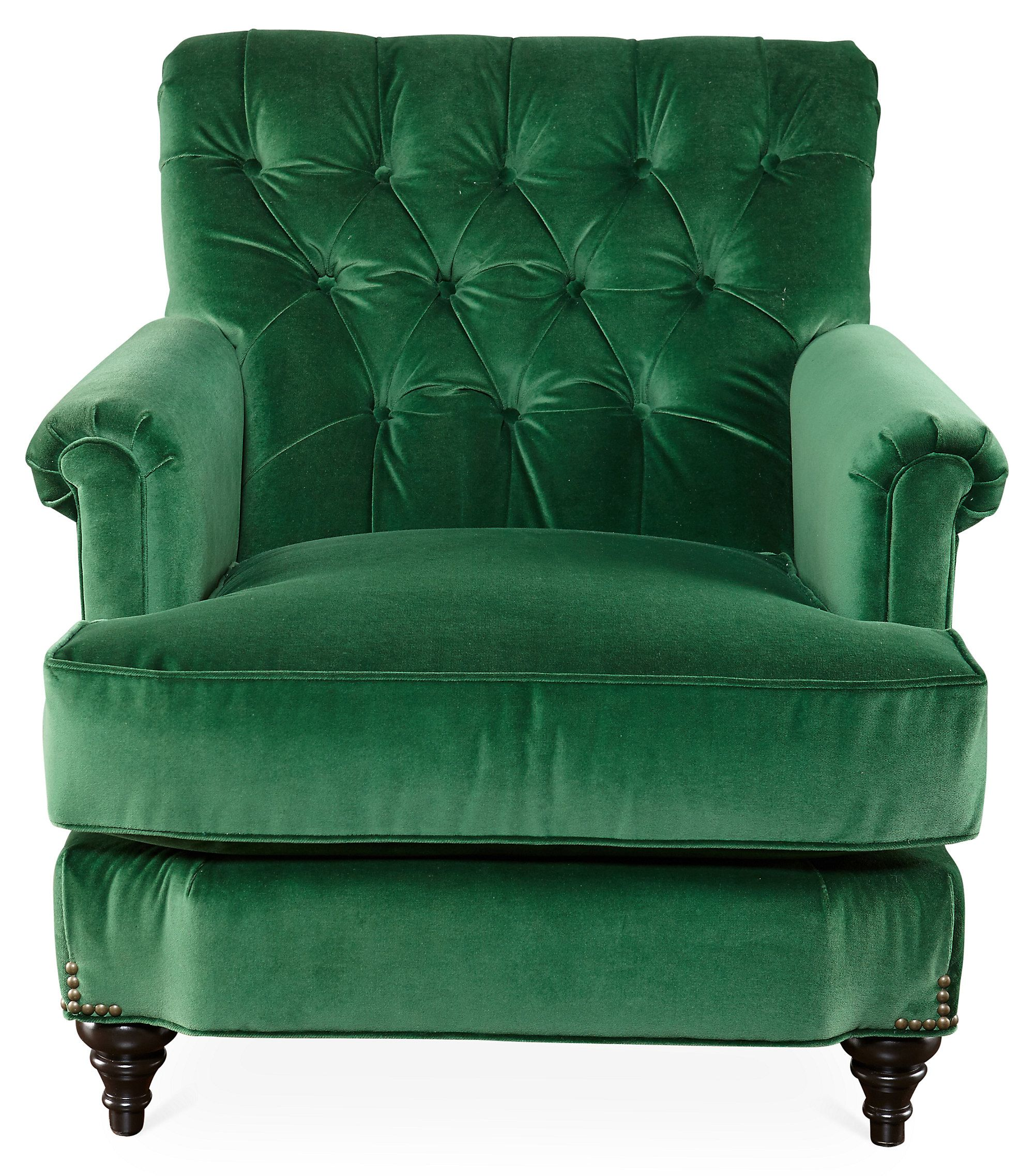 Green Velvet Dining Chairs Acton Tufted Chair Emerald Green Velvet One Kings Lane